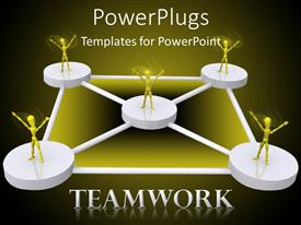 PowerPlugs: PowerPoint template with lots of circular slabs with people and a Teamwork text