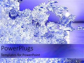 PowerPoint template displaying lots of clear ice crystals on an ocean background