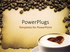 PowerPlugs: PowerPoint template with lots of coffee beans around a white coffee cup