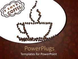 PowerPoint template displaying lots of coffee beans forming the shape of a coffee cup