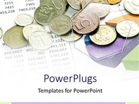 PowerPlugs: PowerPoint template with lots of coins of different denomination on  paper with figures