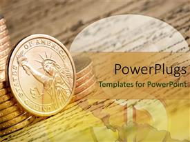 PowerPlugs: PowerPoint template with lots of coins on an open paper with writings