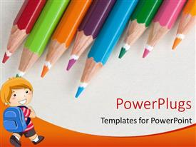 PowerPlugs: PowerPoint template with lots of color pencils with a boy carrying a school bag