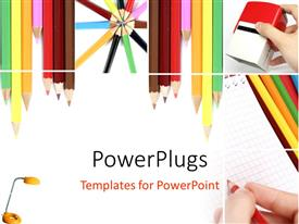 PowerPoint template displaying lots of color pencils in different arrangements on a white surface