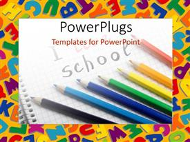 PowerPlugs: PowerPoint template with lots of color pencils with text that spell out the words 'I love school'