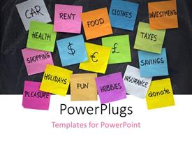 PowerPlugs: PowerPoint template with lots of colored sticky notes with different financial text