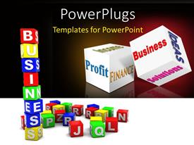 PowerPlugs: PowerPoint template with lots of colorful alphabet blocks with a text that spells out the word 'Business'