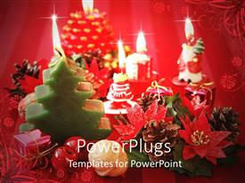 PowerPlugs: PowerPoint template with lots of colorful Christmas differently shaped candles, gifts and ornaments