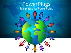 PowerPlugs: PowerPoint template with lots of colorful human charcters forming a circle on an earth globe