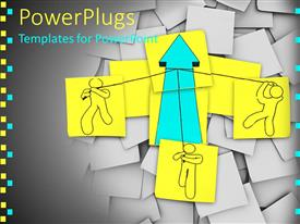 PowerPlugs: PowerPoint template with lots of colorful papers with a drawing of people undergoing team work and pulling an arrow