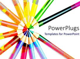PowerPlugs: PowerPoint template with lots of colorful pencils pointing inward on a white background