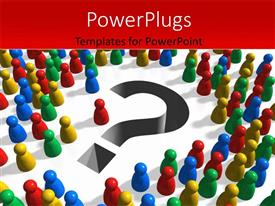 PowerPlugs: PowerPoint template with lots of colorful pin heads around a question mark