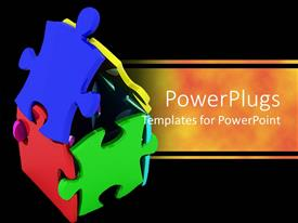 PowerPlugs: PowerPoint template with lots of colorful puzzles forming a house on a black background