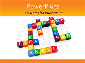 PowerPlugs: PowerPoint template with lots of colorful scrabble cubes forming cross word text of leadership qualities