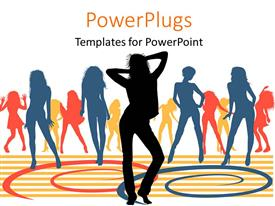 PowerPoint template displaying lots of colorful silhouettes of ladies dancing on a white background