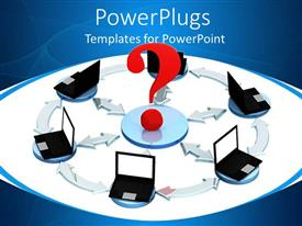 PowerPlugs: PowerPoint template with lots of computers linked together with a big red question mark