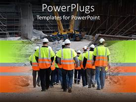 PowerPlugs: PowerPoint template with lots of construction workers marching towards a site with a tractor