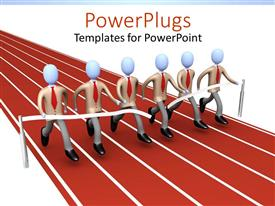 PowerPlugs: PowerPoint template with lots of corporate human figures running together and winning