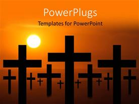 PowerPoint template displaying lots of crosses over a yellow background and a sunset