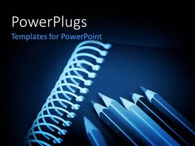 PowerPlugs: PowerPoint template with lots of dark pencils on a closed note book