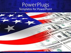 PowerPoint template displaying lots of dollar bills on an american flag background