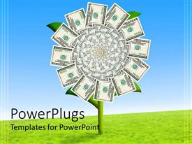 PowerPlugs: PowerPoint template with lots of dollar bills arranged in circles on a plant shoot