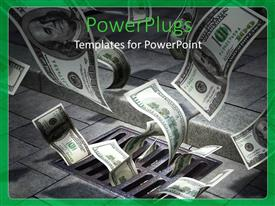 PowerPlugs: PowerPoint template with lots of dollar bills coming from a drain flying away