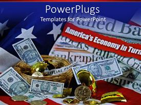 PowerPlugs: PowerPoint template with lots of dollar bills, gold coins and a gold colored cracked egg