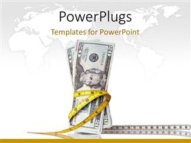 PowerPoint template displaying lots of dollar bills with a measuring tape around them