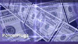 PowerPoint template displaying lots of dollar bills over a purple background with some lines - widescreen format