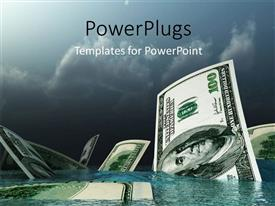 PowerPlugs: PowerPoint template with lots of dollar bills sinking into a pool of water