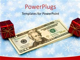 PowerPlugs: PowerPoint template with lots of dollar bills and two small gift boxes