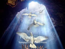 PowerPlugs: PowerPoint template with lots of doves flying out of a cave opening