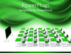 PowerPlugs: PowerPoint template with lots of educational school desks with a black board