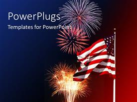 PowerPlugs: PowerPoint template with lots f fireworks and an American flag on a pole