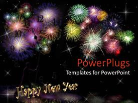 PowerPlugs: PowerPoint template with lots of fire works with happy new year text
