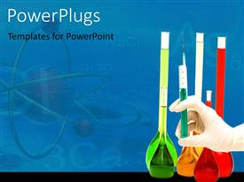 PowerPlugs: PowerPoint template with lots of flasks with colored liquid and a hand with a syringe