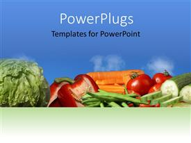 PowerPlugs: PowerPoint template with lots of fresh vegetables on a blue colored background