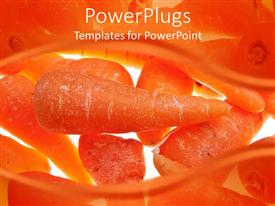 PowerPlugs: PowerPoint template with lots of freshly cut carrots on a white background