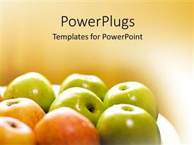 PowerPoint template displaying lots of freshly plucked green and red colored apples