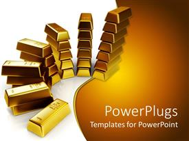 PowerPoint template displaying lots of gold bars in piles  on a white surface