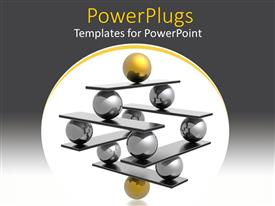 PowerPlugs: PowerPoint template with lots of gold and black 3D balls forming a pyramid shape