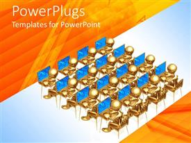 PowerPlugs: PowerPoint template with lots of gold characters with laptops on an orange and white background