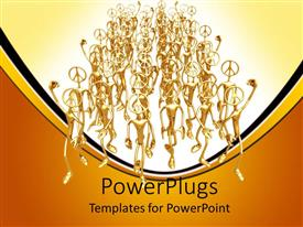 PowerPlugs: PowerPoint template with lots of gold colored 3D human characters walking together