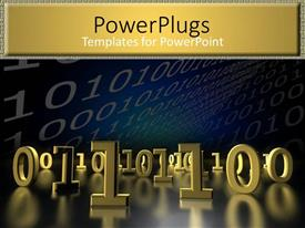 PowerPoint template displaying lots of gold colored binary codes on a black background