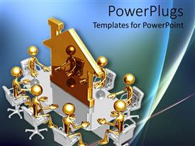 PowerPlugs: PowerPoint template with lots of gold colored characters sitting on a round table