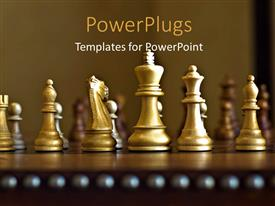 PowerPlugs: PowerPoint template with lots of gold colored chess pieces on a chess board