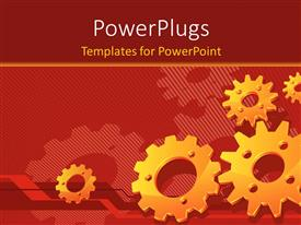 PowerPlugs: PowerPoint template with lots of gold colored gears on a red background