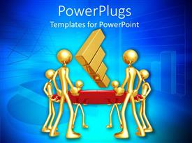 PowerPlugs: PowerPoint template with lots of gold colored human figures holding a bouncing bar chart