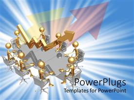 PowerPlugs: PowerPoint template with lots of gold colored human figures sitting on a meeting table